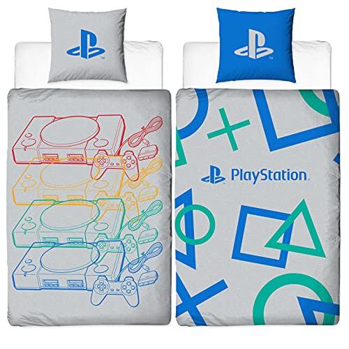 Juego de ropa de cama reversible con diseño de Playstation   135 x 200 cm + 80 x 80 cm   100% algodón   Diseño de consola retro   Ropa de cama para niños gris y azul