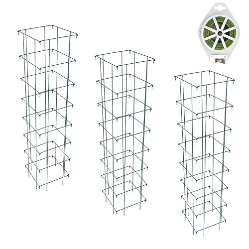 GROWNEER 3 Packs 65 Inches Square Folding Tomato Cages Plant Support Stake...