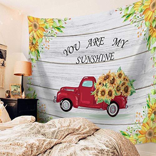 N\A Tapiz Colgante de Pared Girasol Vintage Impreso Tapiz Tapiz de Pared para niños niñas niños habitación Dormitorio Sala de Estar Dormitorio camión de Madera