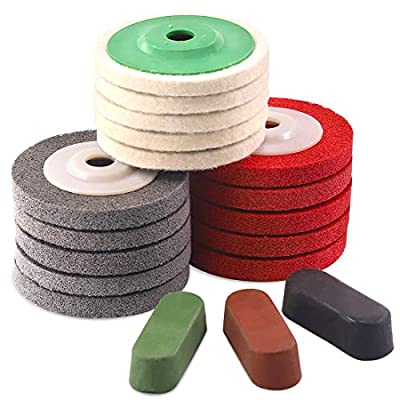 Rustark 18 Pcs Assorted Buffing Wheels,4'' Wool Felt and Nylon Fiber Polishing Wheel Sanding Buffing Disc Abrasive Wheels with Black Emery, Brown Tripoli, General Green Compound for Angle Grinders