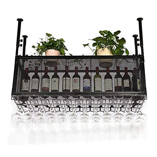 YASE-king Weinhalter Weinregal Wand-Metall Schmiedeeisen Gitter Wine Bar Rack-Craft hängender Glasgegenglashalter Glasbecherhalter