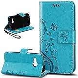 Kompatibel mit HTC One M9 Hülle,HTC One M9 Hülle,Prägung Schmetterling Blumen PU Lederhülle Flip Hülle Cover Schale Stand Ständer Etui Karten Slot Wallet Tasche Hülle Schutzhülle für HTC One M9,Blau