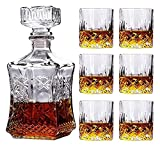 JIUYUE Decantador de Whisky Decantador de vinos Whisky Vino Vino Conjunto, Botella de Vino de Girasol Cuadrada + 6 Gafas de Whisky Licorera