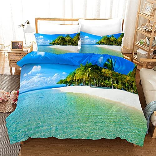 Blue Sea Beach Biancheria da Letto 3D Scenario Naturale Seaside Coconut Grove Copripiumino Stile Romantico Set di Piumini Queen King Twin Full Size Tessili Per La Casa,King