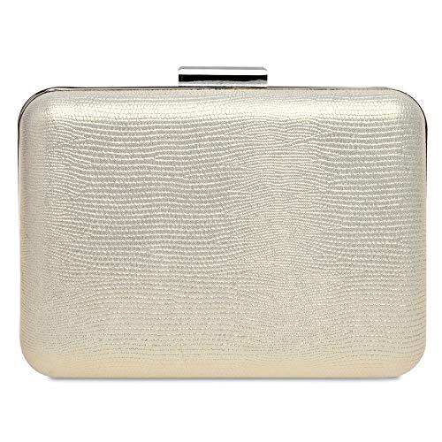Caspar TA529 elegante Damen Snake Skin Box Clutch Tasche Abendtasche, Farbe:champagner, Größe:Einheitsgröße