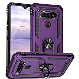 TJS Compatible with LG K51 Case, LG Q51 Case, LG Reflect Case, Impact Resistant Defender Metal Ring Kickstand Magnetic Support Drop Protective Cover Phone Case (Purple)