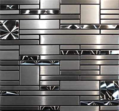 Stainless Steel Mosaic - Quadrant - 12x12""