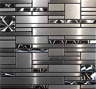 Interlocking Stainless Steel Mosaic - Quadrant Tile (1-Sheet) Kitchen, Bathroom, and Patio Flooring | Indoor and Outdoor Use | Natural Auburn Stones | Quick and Easy Grout Installation
