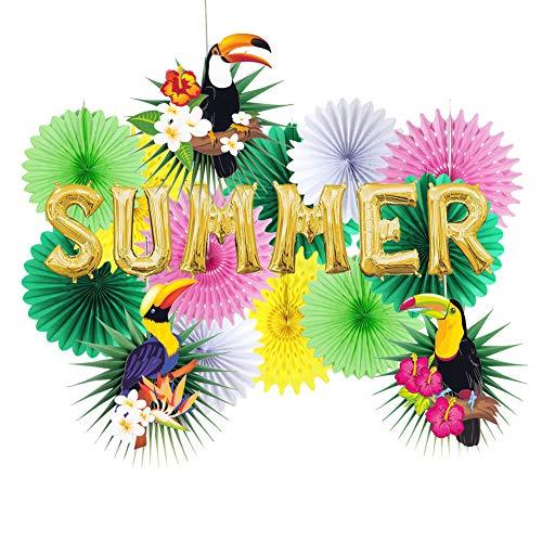 Easy Joy Tropische Dekorationen Kit Summer Folie Ballons Papier Fächer-Set Grüne Blätter Tukane Deko