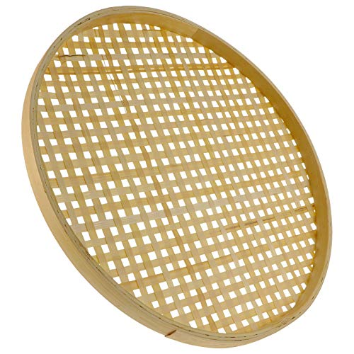 YARNOW 36CM Bamboo Flat Wicker Round Fruit Basket Woven Food Storage Serving Tray Basket Bamboo Sieve Serving Tray Bowl Organizer for Home Kitchen