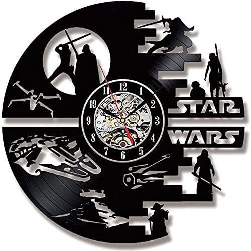 AHURGND Reloj de pared Star Wars-Reloj único, con luz de fondo LED, lámpara de pared de luz nocturna reloj de pared de vinilo hecho a mano, decoración para el hogar regalos de guerra estrella para niñ