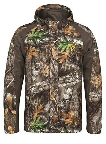 Blocker Outdoors Shield Series Drencher Men's Insulated Late Season Breathable Waterproof Hooded Full Zip Rain Camo Hunting Jacket (RT Edge, XL)