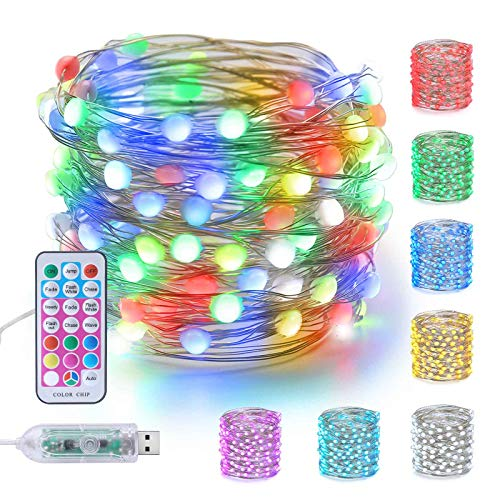 Joomer USB Fairy String Lights Color Changing 33ft 100 LED Waterproof Remote Control RGB Twinkle Lights for Bedroom Outdoor Christmas Valentine Party Decorations