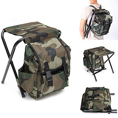SDGDFXCHN Klapp Camping Stuhl, Hocker Rucksack Camouflage Tragbare Wandern Sitz Tisch Tasche für Outdoor Indoor Angeln Reise Strand BBQ