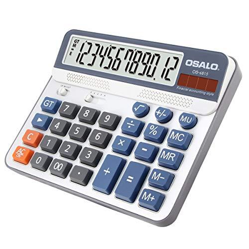 Pendancy Calculadora de mesa con gran pantalla LCD de 12 dígitos (OS-6815).