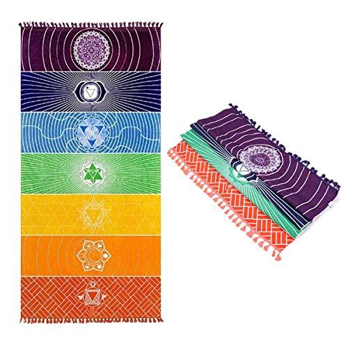 Liwein 2 Piezas Bohemia Mandala Manta de Yoga,India Toalla de Yoga 7 Chakra Borlas Tapiz de Rayas Arcoiris Colgante de Pared Toalla de Playa Chal(Sección Delgada)
