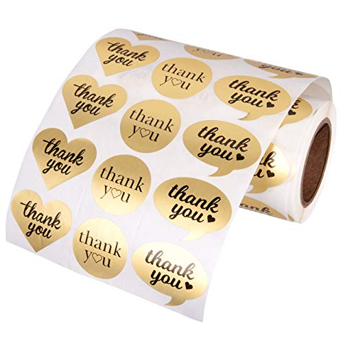 """1.5"""" Heart Circle Bubble Shape Thank You Adhesive Label Stickers, 1000 Stickers per Roll,1-1/2 Inch by Kenco (Gold Foil)"""