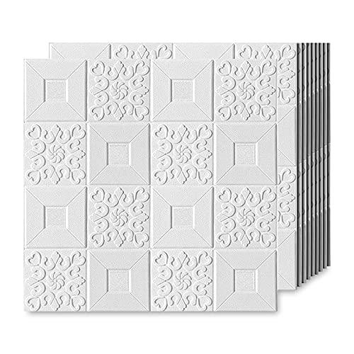 EMSMIL Papel Pintado 3D Ladrillo Blanco Autoadhesivo 10 Piezas 70 x 70cm Moderno Impermeable Revestimiento de Paredes para Hogar Cocina Salón Dormitorios TV Pegatina Pared Sticker Decoración