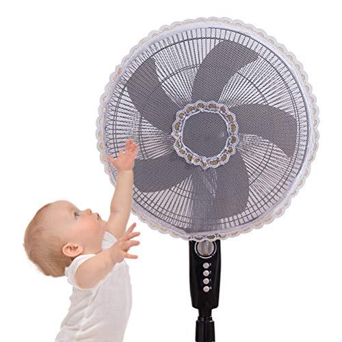 Ventilator beschermhoes kinderen baby veiligheid staande ventilator beschermhoes voor 16 inch - 18 inch ventilator wit