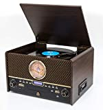 GPO Chesterton DAB Record Player Retro 7-in-1 Music Centre with Vinyl Turntable, CD Player, USB, FM Radio, DAB Radio, Cassette Player, AUX IN and Built-In Speakers-Wood Finish