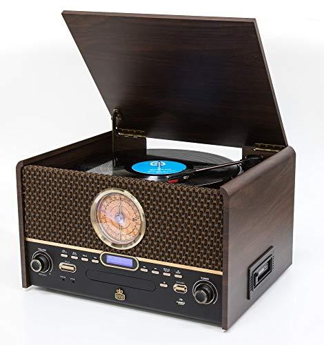 GPO Chesterton Equipo de música DAB (Transmisión Digital de Audio) - Reproductor de vinilos, CDs y cintas, USB, Radio FM/DAB, entrada AUX, Altavoz