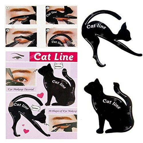 Haosshop - Plantilla de maquillaje para sombra de ojos, en forma de gato, 5 hojas, color negro.
