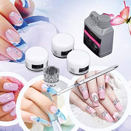 Sensail-Kit de Nail Art Kit d'outils pour nail art portable mis en poudre acrylique plat liquide 120 ml, 3 X poudre acrylique, 1 verre clair, 1 stylo à ongles