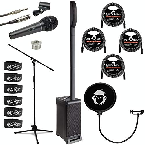 JBL Professional EON ONE PRO Portable All-In-One Rechargeable 7-Channel PA Bundle with Unidirectional Dynamic Microphone, 66-Inch Microphone Stand, 4x 15-Foot XLR Cable, Pop Filter, 6x Cable Ties