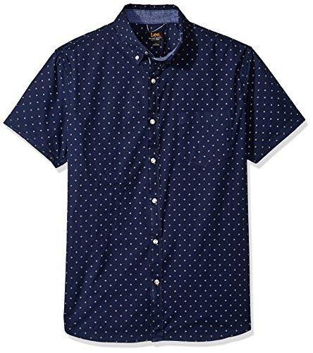 Lee Uniforms - Camisa elástica de manga corta con botones para hombre (regular, grande y alta) -  Azul -  Small
