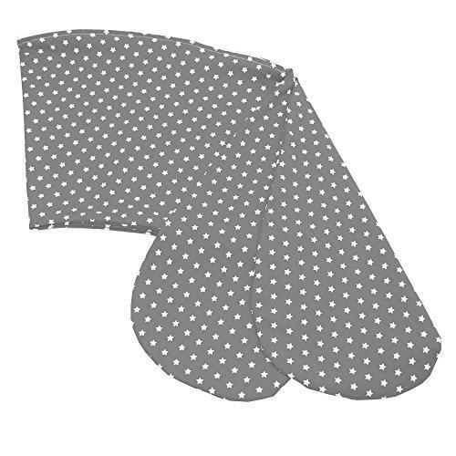 Sugarapple Stillkissenbezug 190 cm, Bezug für alle Stillkissen 190cm und Theraline das Original, 100% Baumwolle mit Reißverschluss, Grau mit weißen sternen