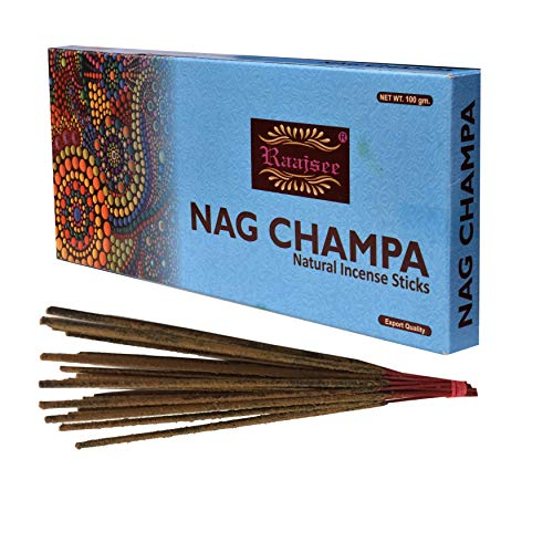 raajsee Nagchampa Bâtons d'encens 100 GM Pack-100% Pure Biologique Naturel roulés la Main Gratuit à partir de Chemicals-Perfect pour église,Aroma Thérapie,Relaxation,Méditation,Thérapie de Positivité