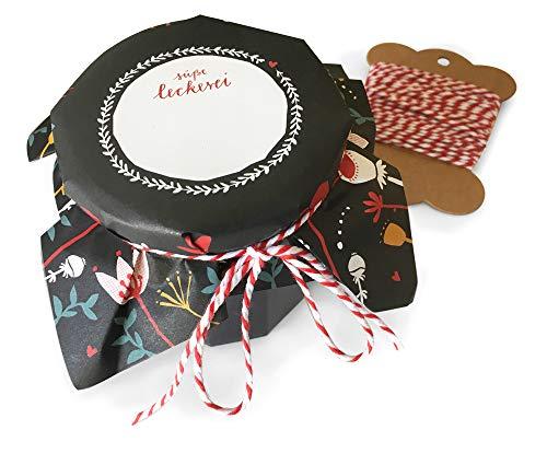 25 Marmeladendeckchen mit Blumen, Schwarz Rot Gelb Blau, florale retro Gläserdeckchen zum selbst beschriften, für Eingemachtes & selbstgemachte Marmelade, Recyclingpapier Abreißblock + 10 m Garn