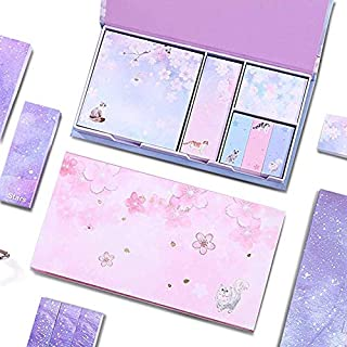 480 Sheets Sticky Notes, Cute Cartoon Cherry Blossom Box Multi-Purpose Students with Message Combination Self-Adhesive Not...
