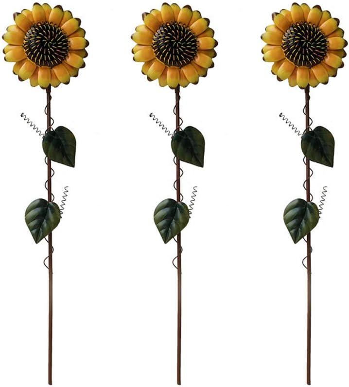 SOOFYLIA Sunflower Garden Stakes 3 Pack Decor Metal Yard Art Ind