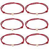 TOMLEE 6pcs Red String Bracelets Gold Plated Heart Charm Handmade Adjustable String Bracelet (6PCS & Red)