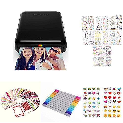 Polaroid ZIP Handydrucker mit ZINK Zero tintenfreier Drucktechnologie Kompatibel mit iOS Androidgeraten Geschenk Bundle Schwarz