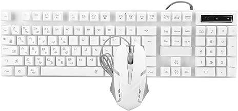 Keyboard and Mouse Combo 104 Keys Keyboard LED Keyboard Mechanical Keyboard USB Wired 1200dpi LED Mouse, for Gaming, Noteb...