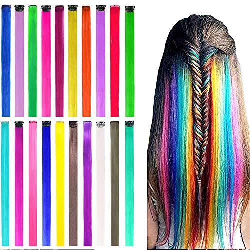 ColorfulPanda 20 Stück Farbige Haarverlängerung Clips in regenbogen 20 Farben Bunte Haarsträhnen Glatte Regenbogen Gerade Weihnachten Für Frauen Mädchen Kinder Synthetisch Haarteil