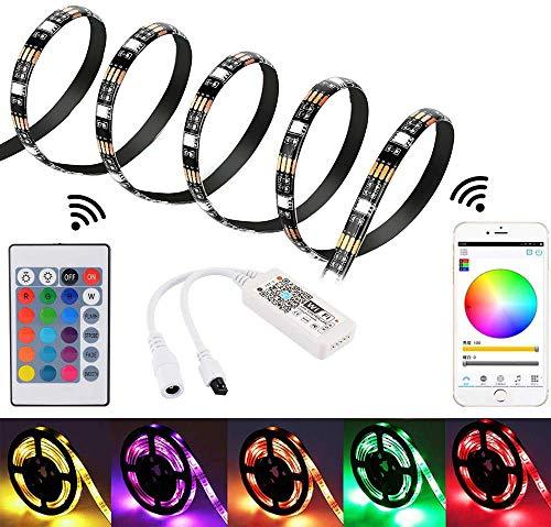 2m WiFi LED-Streifen für Alexa/Google Home, Smartphone APP gesteuerter 5050 wasserdichter RGB LED Licht Stripes Bänder mit Fernbedienung für die Inneneinrichtung