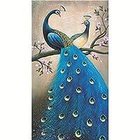 KIILING DIYダイヤモンド絵画ポリカドットダイヤモンドクロスステッチ垂直孔雀パターンベッドルームリビングルーム装飾モザイクアート (Size : Peacock 70X130cm)
