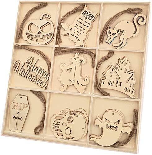 MEKO 36 Stück Halloween-Holzscheiben Geschenkanhänger aus Holz, Holz, zum Aufhängen, Ornamente, Basteln, Dekoration für zu Hause (Halloween)