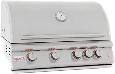 "Blaze LTE 32-Inch 4-Burner Built-In Natural Or Propane Gas Grill With Rear Infrared Burner & Grill Lights - BLZ-4LTE-NG Or BLZ-4LTE-LP - With Free Grill Cover! (32"" Propane)"