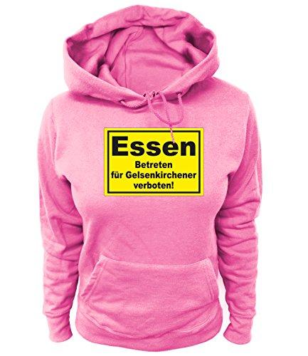 Artdiktat Damen Hoodie Essen - Betreten für Gelsenkirchener verboten Größe XS, rosa
