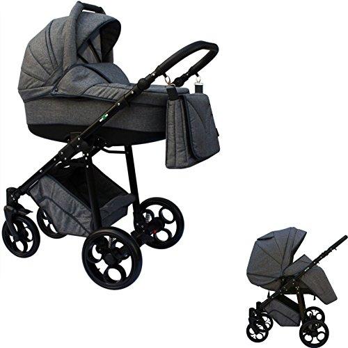 Clamaro 'MAXIM' 2in1 Premium Kombi Kinderwagen mit 360 ° GEL-Reifen inkl. Buggy, Babywanne mit verstelbarer Liegefläche und klappbarem Alu Gestell mit Federung - Muster: Leinen Grau