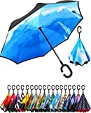 BAGAIL Double Layer Inverted Umbrella Reverse Folding Umbrellas Windproof UV Protection Big Straight Umbrella for Car Rain Outdoor with C-Shaped Handle (Cloud)