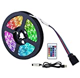 Tiras LED TV 2M 60LED, Tira LED USB RGB 5050 de Multicolor, Luces LED Habitación con Control Remoto 5V, Luz LED TV Gaming con Autoadhesiva