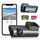 Dash Cam WiFi 4K Ultra HD 2160P Car Dash Cam with SD Card Included, Dashcams for Cars with Night Vision, WDR, Loop Recording, 170° Wide Angle, G-sensor, Motion Detection, 24H Parking Monitor