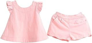 SelansKJ-Babysuits Conjunto de Ropa para niños de Color sólido, con Cuello Redondo, sin Mangas, Parte Superior y Pantalones Cortos