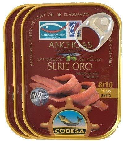Anchoas Codesa Serie Oro 8/10 filetes. [PACK DE 3 UNIDADES]