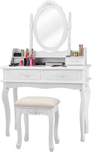 lowest Giantex White Vanity Set with Mirror high quality and Stool, Bedroom Wood Makeup Table for Women Girls Gift, high quality Mirrored Dressing Table Desk Vanity Dresser with Storage, Modern Room Vanities with 4 Drawers outlet sale
